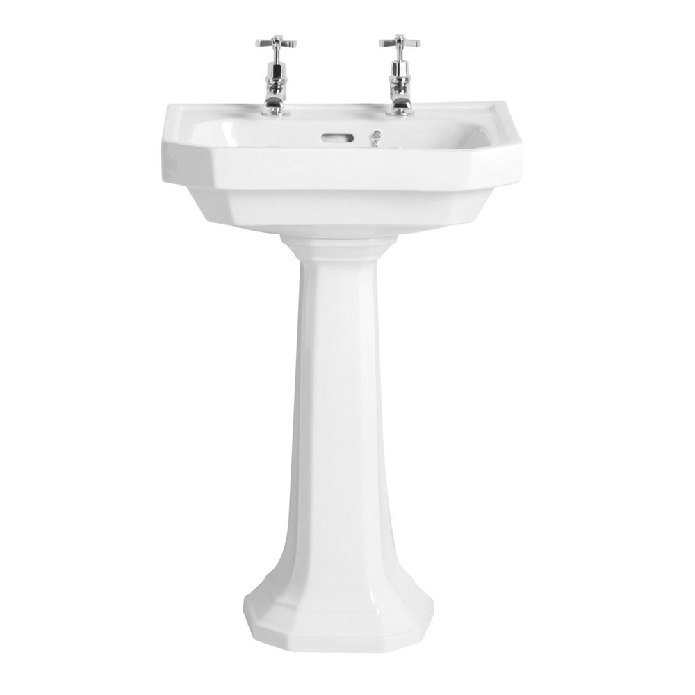 Heritage - Granley Deco 55cm 2TH Basin & Tall Pedestal Large Image