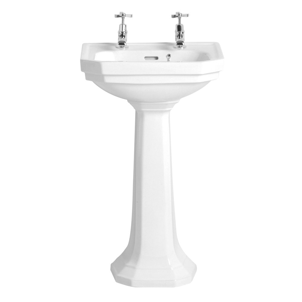 Heritage - Granley Deco 2TH Cloakroom Basin & Tall Pedestal profile large image view 1