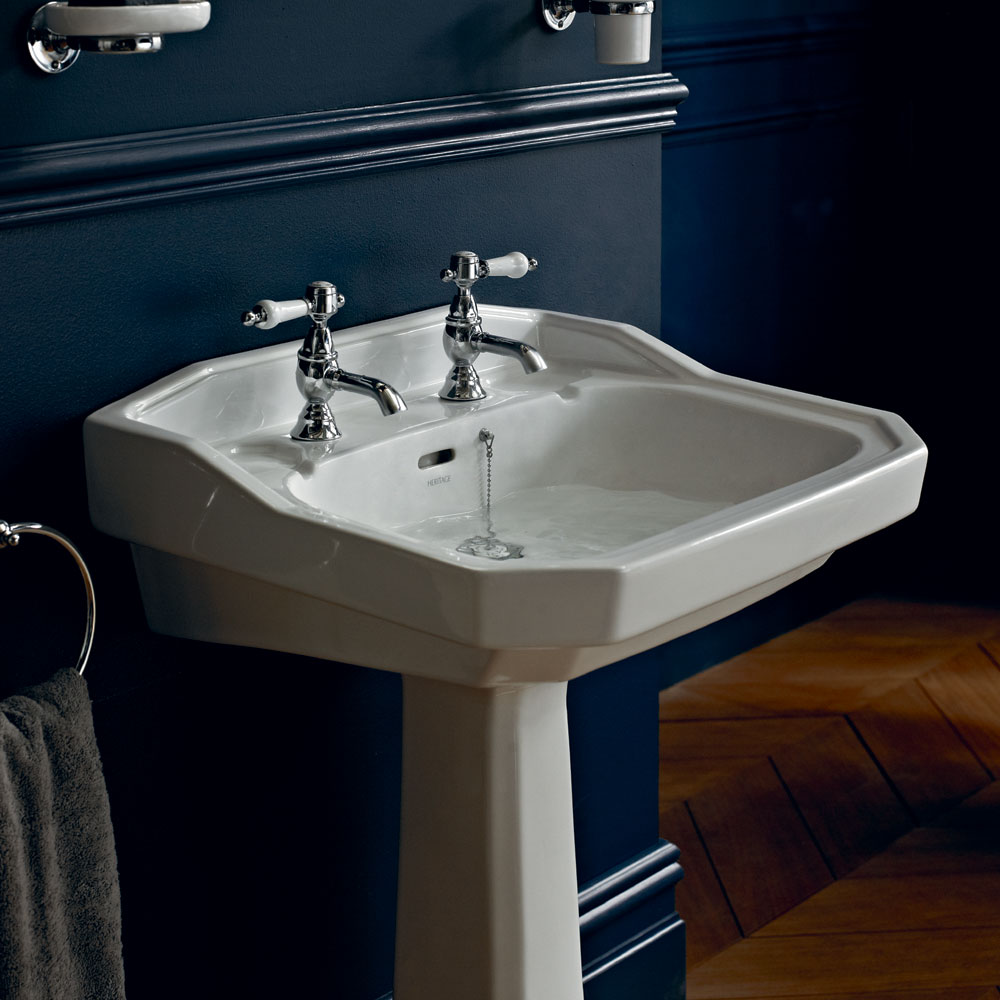 Heritage - Granley Standard Basin & Tall Pedestal - Various Tap Hole Options profile large image view 2