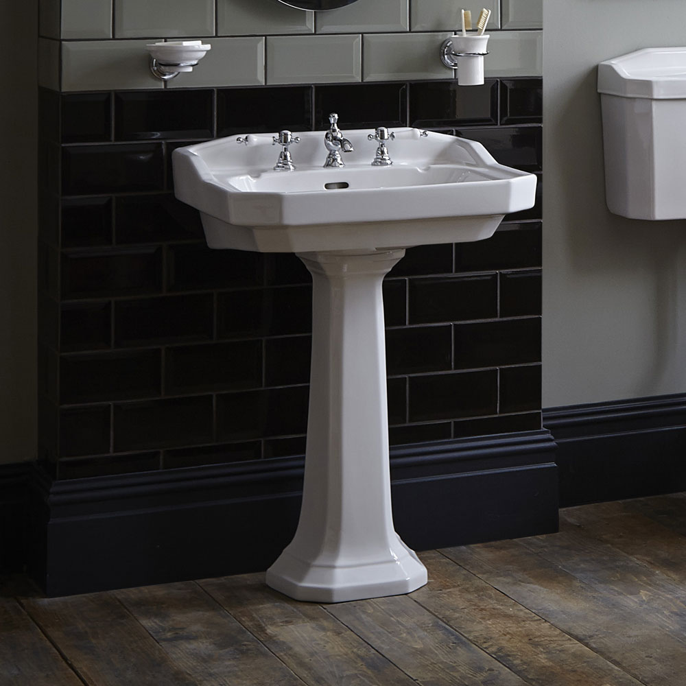 Heritage - Granley Standard Basin & Tall Pedestal - Various Tap Hole Options profile large image view 3