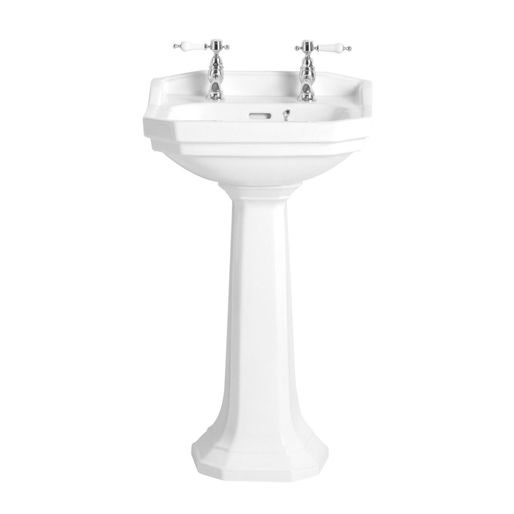 Heritage - Granley Cloakroom Basin & Pedestal - 1 or 2 Tap Hole Options profile large image view 1