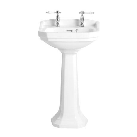 Heritage - Granley Cloakroom Basin & Pedestal - 1 or 2 Tap Hole Options