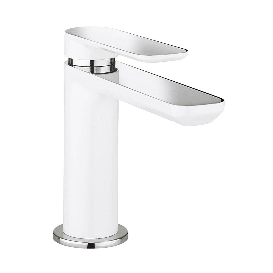 Crosswater Pier Monobloc Basin Mixer - White - PI110DNW profile large image view 1