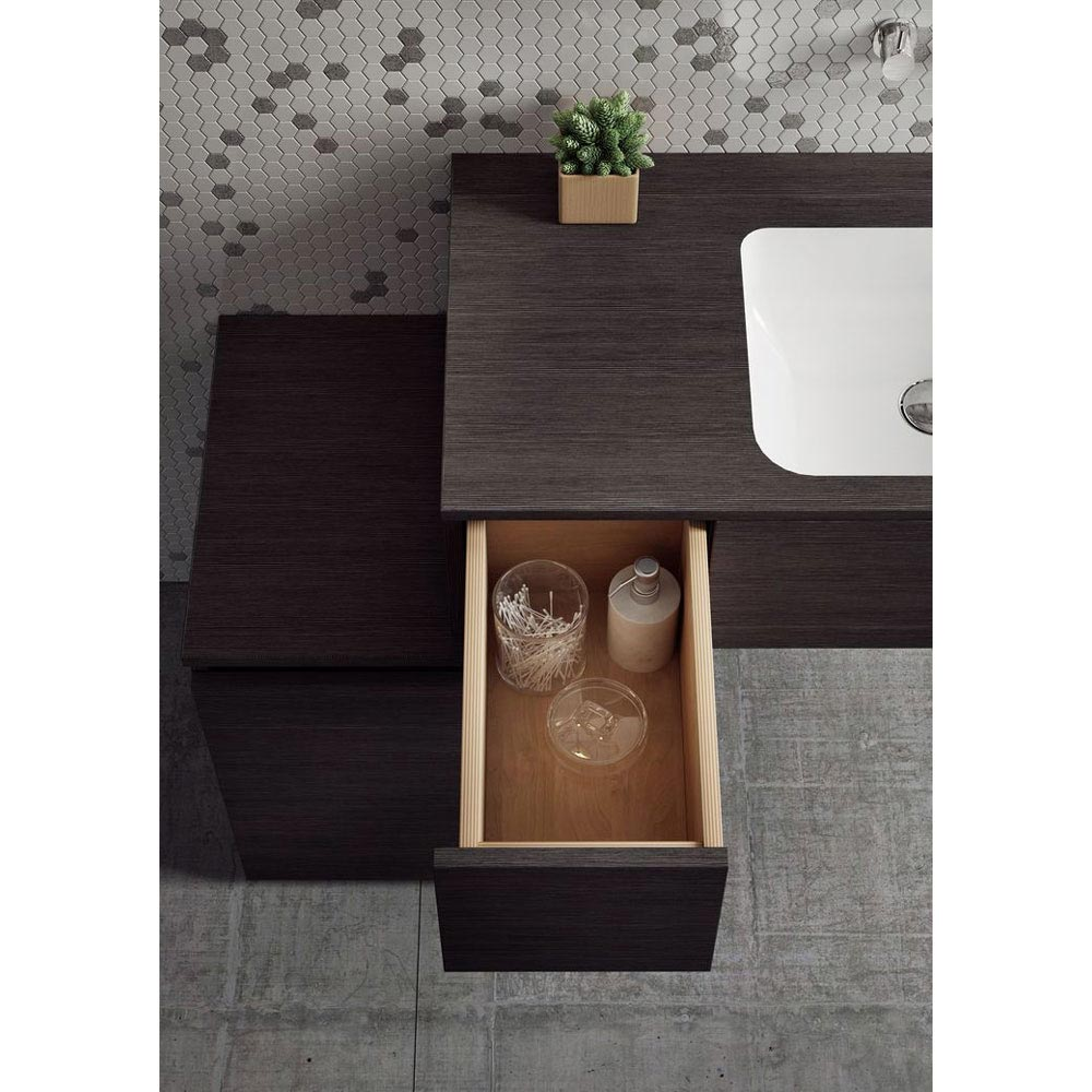 Bauhaus Pier Wall Hung Console Unit & Basin - Ebony In Bathroom Large Image