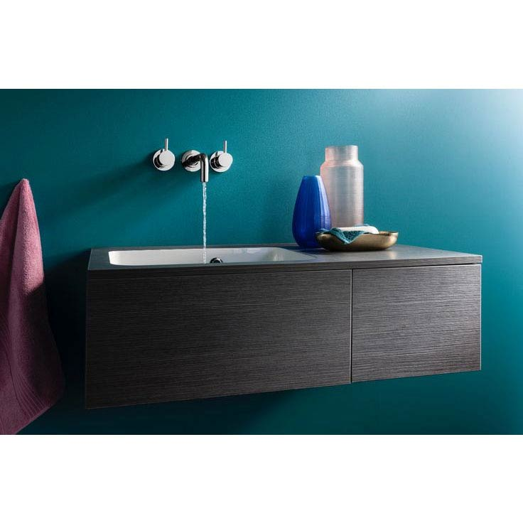 Bauhaus Pier Wall Hung Console Unit & Basin - Ebony Newest Large Image