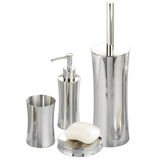 Wenko Pieno Shiny Bathroom Accessories Set Stainless Steel At