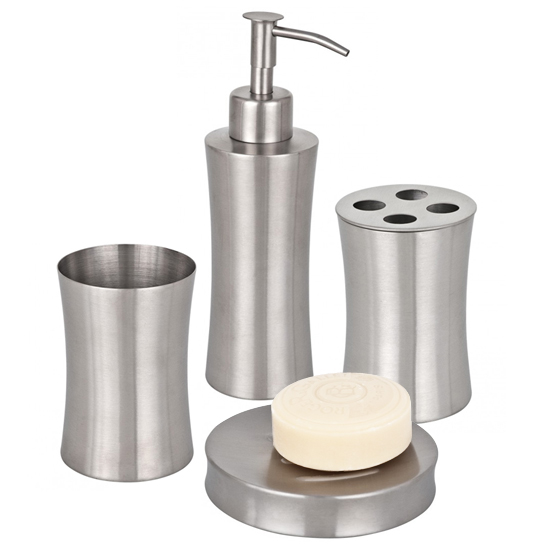 Wenko pieno bathroom accessories set stainless steel at for Bathroom accessories uk