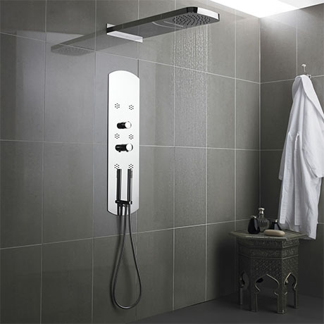 Hudson Reed - Interval Recessed Thermostatic Shower Panel - Chrome - PIN003