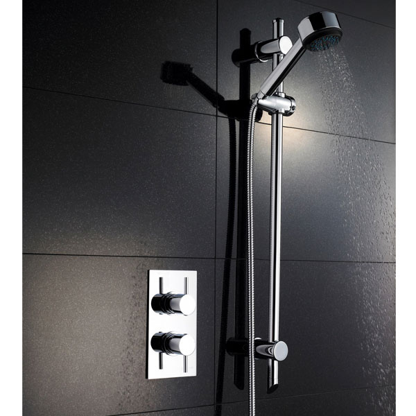 Pioneer Twin Concealed Thermostatic Shower Valve with Slide Rail Kit profile large image view 1