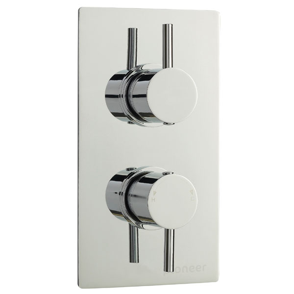 Pioneer Twin Concealed Thermostatic Shower Valve Round Handles - Chrome - PIOV41 Large Image