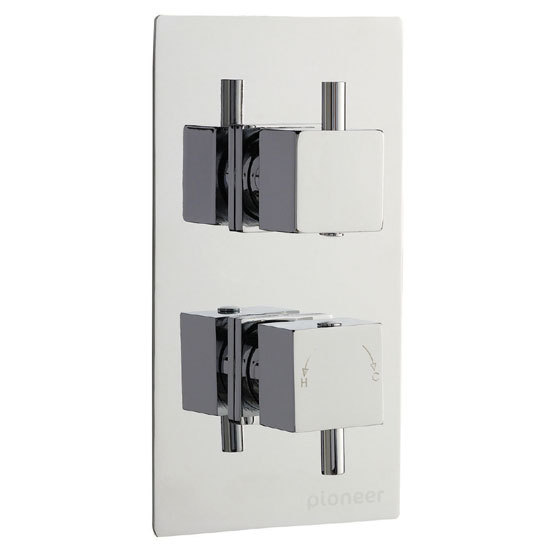 Pioneer Twin Concealed Thermostatic Shower Valve Square Handles - Chrome - PIOV51 profile large image view 1