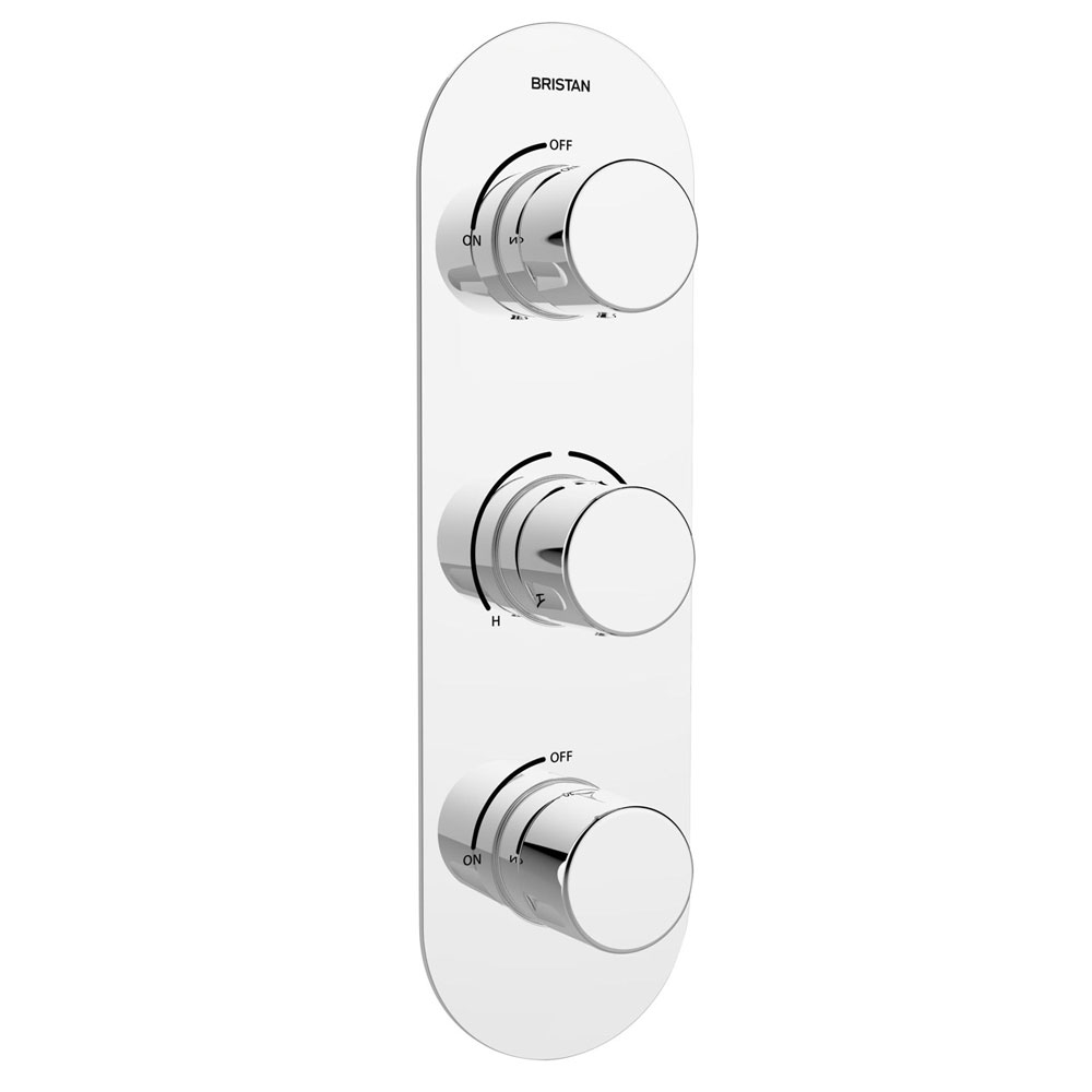 Bristan - Pivot Thermostatic Recessed Dual Control Three Handle Shower Valve with Integral Twin Stopcocks - PIV-SHC3STP-C profile large image view 1
