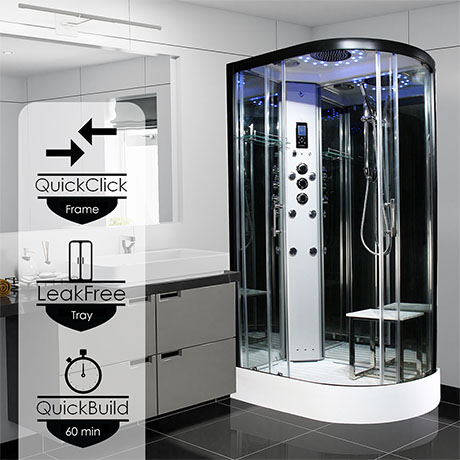 Insignia 1100 x 700mm Platinum Steam Shower Black Frame