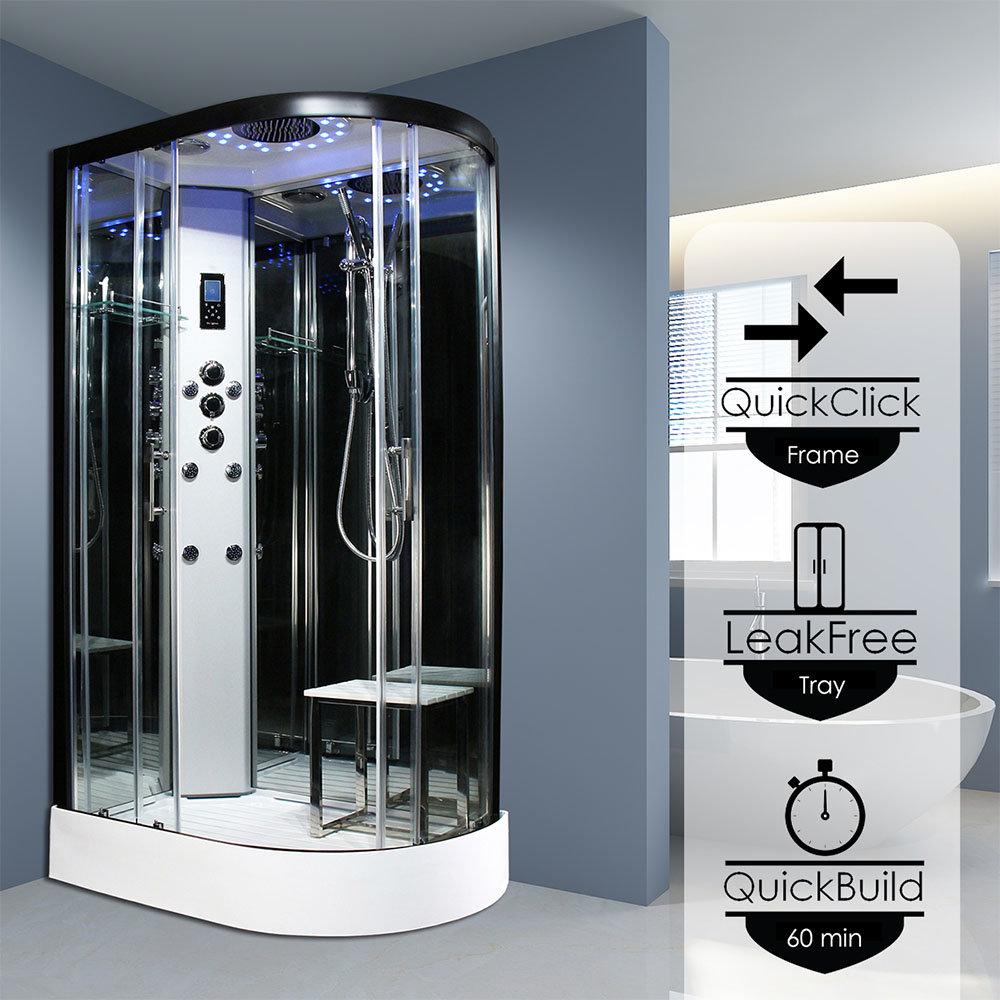 Insignia Platinum 1100 x 700mm Shower Cabin Black Frame