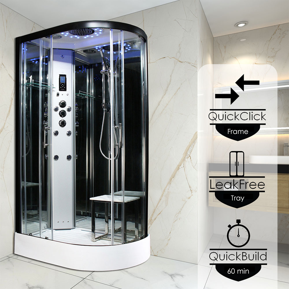 Insignia Platinum 1200 x 800mm Steam Shower Black Frame