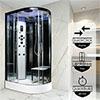 Insignia Platinum 1200 x 800mm Steam Shower Black Frame profile small image view 1