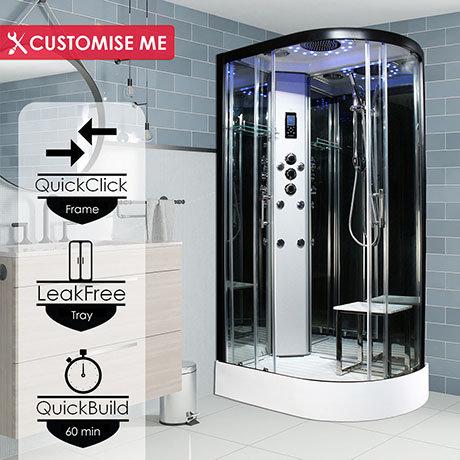 Insignia Premium 1200 x 800mm Non-Steam Shower Cabin Black Frame