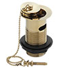 Traditional Gold Plated Slotted Basin Waste with Plug + Ball Chain profile small image view 1