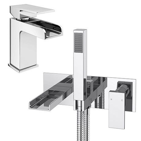 Plaza Waterfall Tap Package (Wall Mounted Bath Tap + Basin Tap)