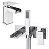 Monza Waterfall Tap Package (Wall Mounted Bath Tap + Basin Tap) profile small image view 1