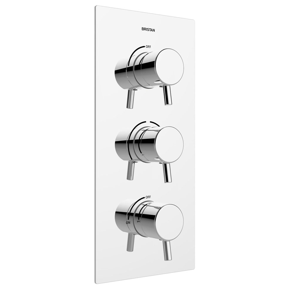 Bristan - Prism Thermostatic Recessed Dual Control Three Handle Shower Valve with Integral Twin Stopcocks - PM2-SHC3STP-C Large Image