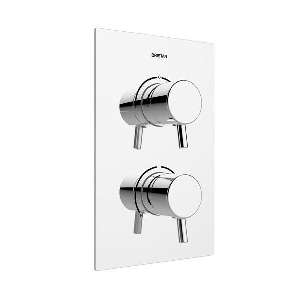 Bristan - Prism Thermostatic Recessed Dual Control Shower Valve with Integral Diverter - PM2-SHCDIV-