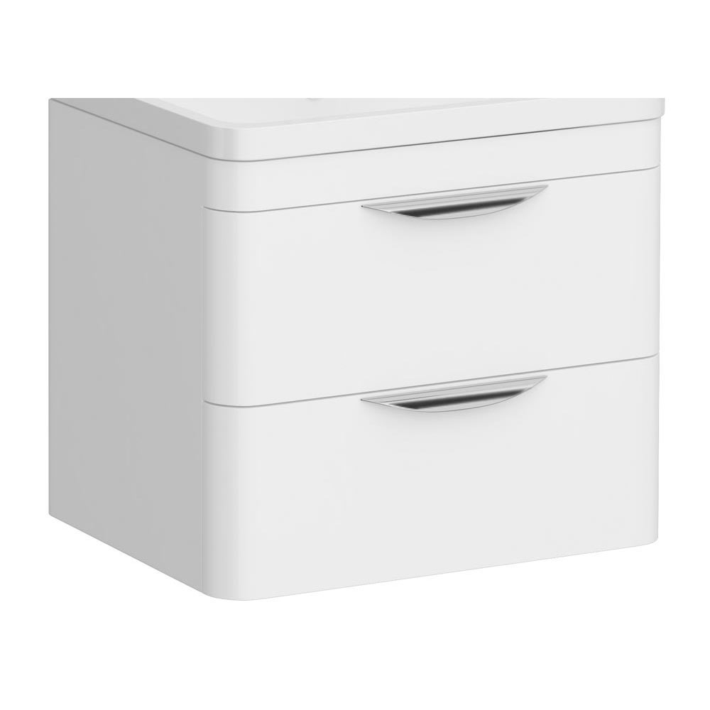 Monza 600mm White Wall Hung Vanity Cabinet (excluding Basin)
