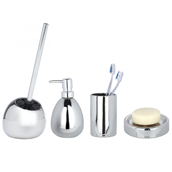Wenko polaris ceramic bathroom accessories set chrome at for Bathroom accessories uk