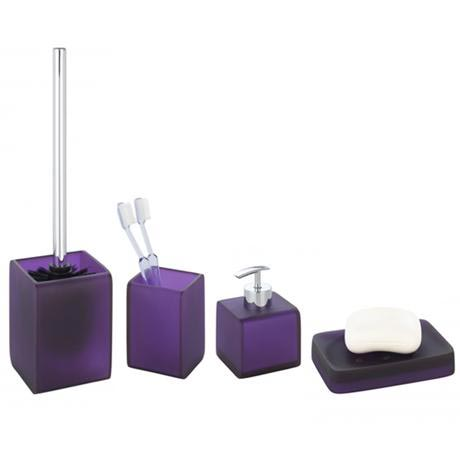 wenko ponti bathroom accessories set purple