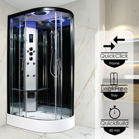 Insignia Premium 1200 x 800mm Non-Steam Shower Cabin Black Frame