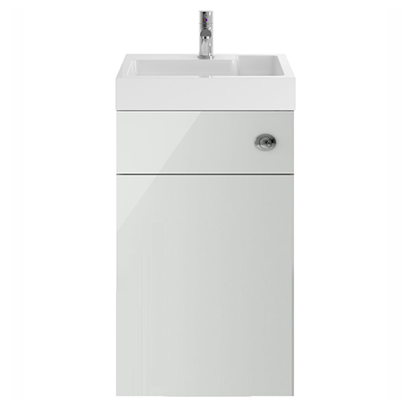 Nuie Athena 500 Grey Mist 2-In-1 Basin, Concealed Cistern & WC Unit - PRC745CB