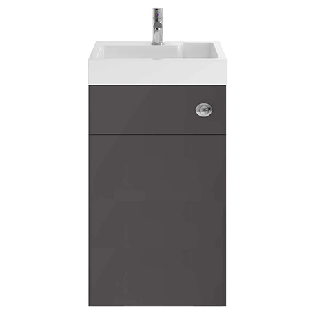 Nuie Athena 500 Gloss Grey 2-In-1 Basin, Concealed Cistern & WC Unit - PRC945CB