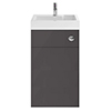 Nuie Athena 500 Gloss Grey 2-In-1 Basin, Concealed Cistern & WC Unit - PRC945CB profile small image view 1
