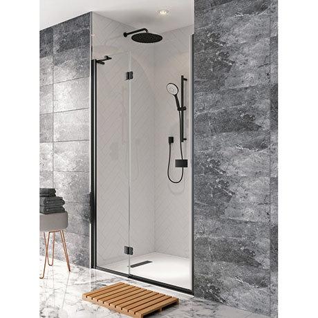 Crosswater Design+ Matt Black Hinged Shower Door with Inline Panel