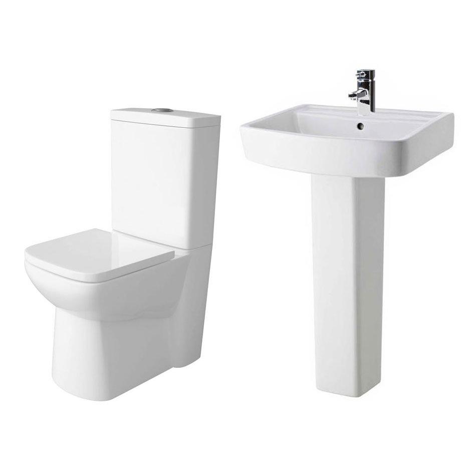 Premier - Ambrose 4 Piece Bathroom Suite - CC Toilet & 1TH Basin w Pedestal - 2 x Basin Size Options In Bathroom Large Image