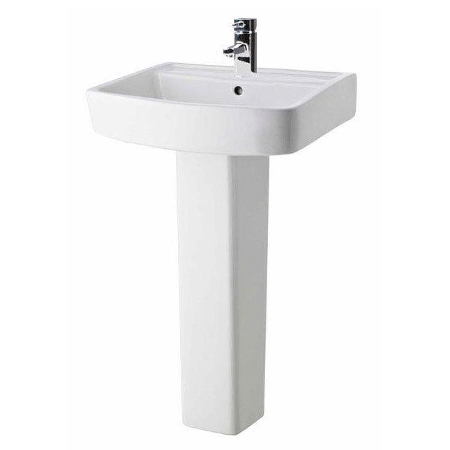 Premier - Ambrose 4 Piece Bathroom Suite - CC Toilet & 1TH Basin w Pedestal - 2 x Basin Size Options Standard Large Image