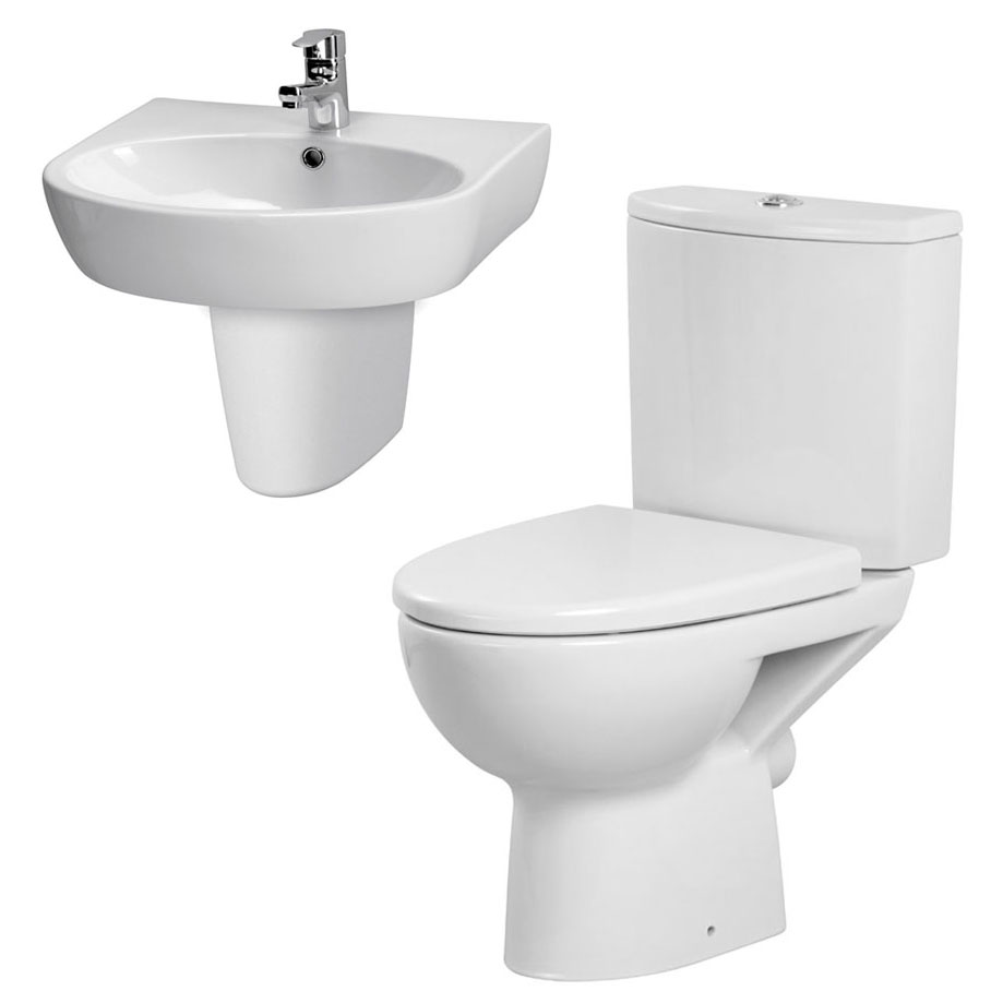 Premier - Cairo 4 Piece Bathroom Suite - Toilet & 1TH Basin w Semi Pedestal - 3 x Basin Size Options Large Image