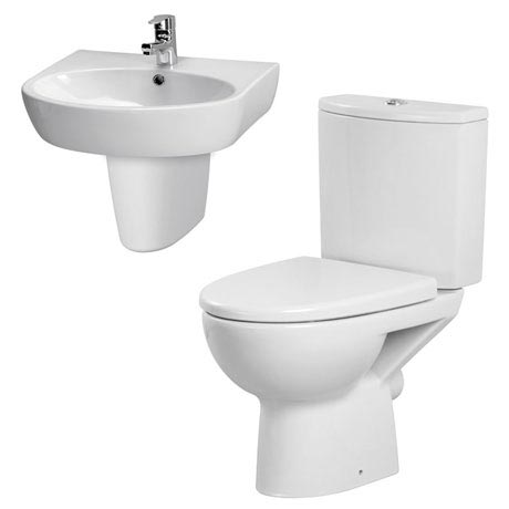 Premier - Cairo 4 Piece Bathroom Suite - Toilet & 1TH Basin w Semi Pedestal - 3 x Basin Size Options