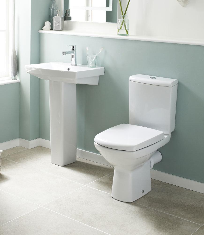 Premier - Hamilton 4 Piece Bathroom Suite - Toilet & 1TH Basin w Pedestal - 3 x Basin Size Options Large Image