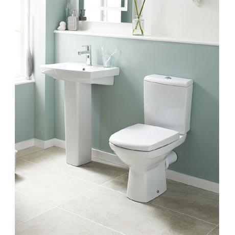 Premier - Hamilton 4 Piece Bathroom Suite - Toilet & 1TH Basin w Pedestal - 3 x Basin Size Options