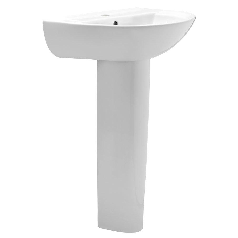 Premier - Pandora 4 Piece Bathroom Suite - CC Toilet & Basin with Pedestal - 1 or 2 Tap Hole Options profile large image view 3