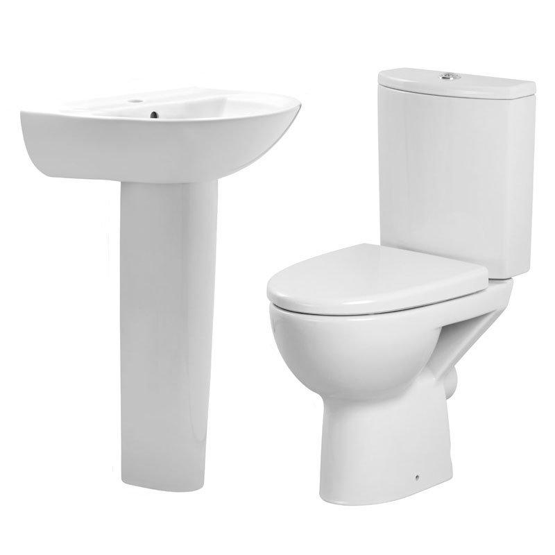 Premier - Pandora 4 Piece Bathroom Suite - CC Toilet & Basin with Pedestal - 1 or 2 Tap Hole Options Large Image