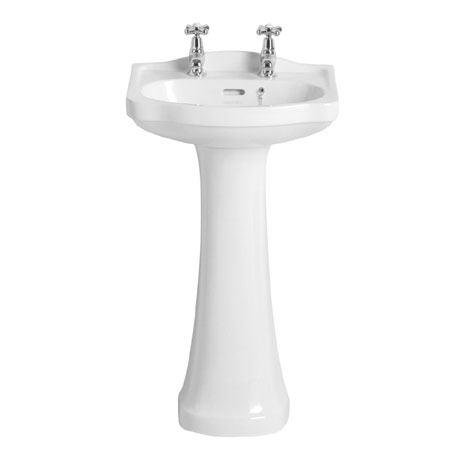 Heritage - Rhyland Cloakroom Basin & Pedestal - 1 or 2 Tap Hole Options