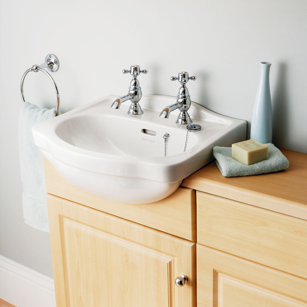 Heritage - Rhyland 2TH Cloakroom Semi-Recessed Basin Profile Large Image