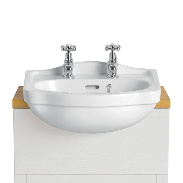 Heritage - Rhyland 2TH Cloakroom Semi-Recessed Basin Large Image