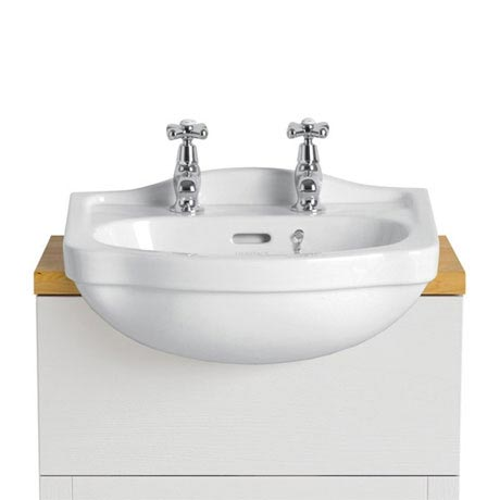 Heritage - Rhyland 2TH Cloakroom Semi-Recessed Basin