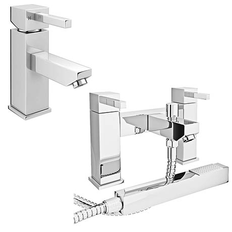 Prime Modern Basin and Bath Shower Mixer Taps Pack - Chrome