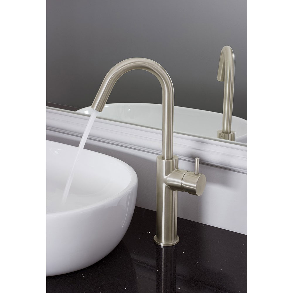 Crosswater - Mike Pro Side Lever Tall Monobloc Basin Mixer - Brushed Stainless Steel - PRO113DNV Profile Large Image