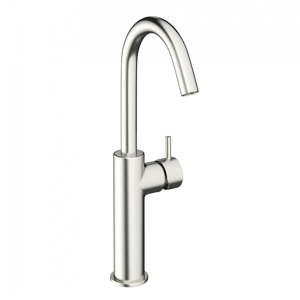 Crosswater - Mike Pro Side Lever Tall Monobloc Basin Mixer - Brushed Stainless Steel - PRO113DNV Large Image