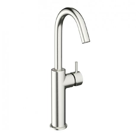 Crosswater - Mike Pro Side Lever Tall Monobloc Basin Mixer - Brushed Stainless Steel - PRO113DNV